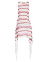 Stella Mccartney Fringed Trimmed Striped Knit Dress Pink White
