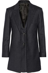 The Row Neril Pinstriped Wool Blend Blazer Navy