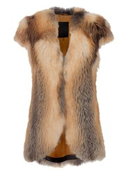 Liska Fox Fur Vest Brown