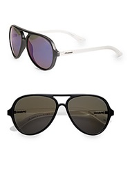 Polaroid 58Mm Plastic Aviator Sunglasses Black