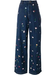 Ashish Flower Embroidered Jeans Blue