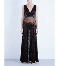 Loveday London Montague Leather And Lace Boudoir Gown Jet Black