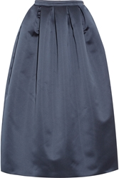 Rochas Pleated Satin Midi Skirt