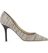 Jimmy Choo Agnes 85 Tweed And Snakeskin Courts White And Black Black