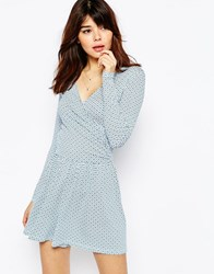 Asos Jersey Ruched Wrap Playsuit In Tile Print Multi