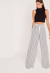 Missguided Tall Exclusive Striped Wide Leg Trousers White White