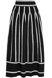 Maje Jamais Embroidered Stretch Jacquard Knit Skirt Black