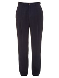 Giorgio Armani Pleated Front Twill Trousers Navy