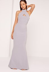 Missguided Wrap Halter Maxi Dress Ice Grey Grey