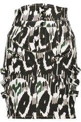 Isabel Marant Nossy Printed Stretch Denim Mini Skirt Black