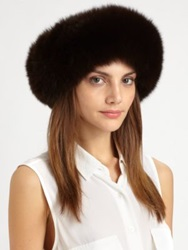 Saks Fifth Avenue Fox Fur Headband Collar Black