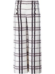 Derek Lam 10 Crosby Double Buttoned Flared Cropped Trousers White