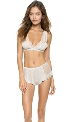 Only Hearts Club Venice Lace Up Bralette Pinstripe Grey