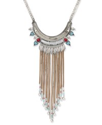 Macy's Silver Tone Ornate Beaded Faux Suede Fringe Statement Necklace