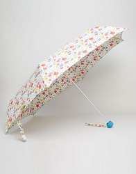Cath Kidston Minilite Umbrella In Paradise Field Print Chalk Cream