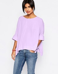 Asos Oversize Kimono T Shirt With V Back Lilac Purple