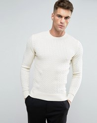Selected Cotton Flat Cable Knit Jumper Cream