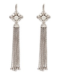 18K White Gold Round Pear And Pave Diamond Earrings With Detachable Tassel Maria Canale For Forevermark White Gold