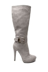 Two Lips Too Vista Buckle High Heel Boot Gray