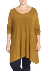 Plus Size Women's Eileen Fisher Stretch Knit High Low Tunic Sweater Brown