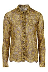 Topshop Luxe Lace Shirt Yellow