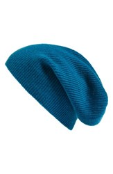 Halogenr Women's Halogen Slouchy Cashmere Beanie Blue Green Teal Abyss