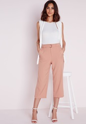 Missguided Cropped D Ring Belt Trousers Salmon Pink Pink