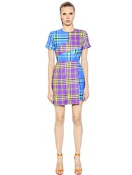 House Of Holland Asymmetrical Patchwork Plaid Wool Dress