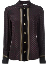 Philosophy Di Lorenzo Serafini Striped Polka Dot Blouse Black