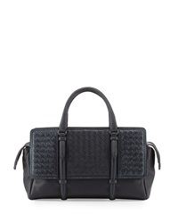 Monaco Snakeskin Satchel Bag Navy Bottega Veneta