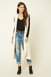 Forever 21 Hooded Loop Knit Cardigan Taupe