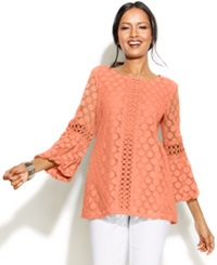 Alfani Crochet Trim Lace Tunic Peach