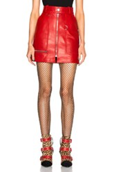 Isabel Marant Franck Leather Skirt In Red