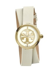 Tory Burch Reva Goldtone Stainless Steel And Leather Double Wrap Strap Watch Goldtone Ivory
