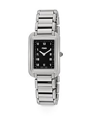 Fendi Classico Rectangular Stainless Steel Watch Silver Black