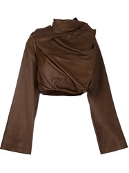 Rick Owens Cropped Biker Jacket Brown