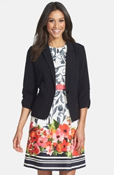 Eliza J Ruched Sleeve Blazer Black