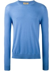 Burberry Elbow Patch Jumper Blue