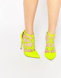 Asos Protector Stud Detail Caged Heels Chartreuse Yellow