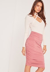 Missguided Ruched Seam Midi Skirt Pink Red