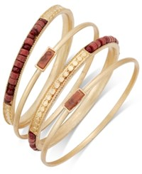 Inc International Concepts Gold Tone 4 Pc. Brown Bead Bangle Bracelet Set Only At Macy's Red