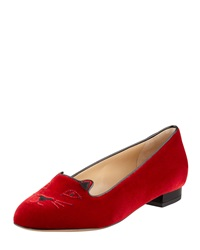 Charlotte Olympia Kitty Cat Embroidered Velvet Slipper Red Red 5.0B