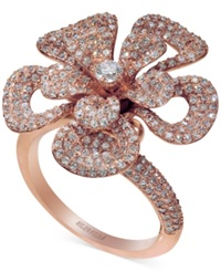 Effy Collection Pave Rose By Effy Diamond Flower Ring In 14K Rose Gold 1 9 10 Ct. T.W.