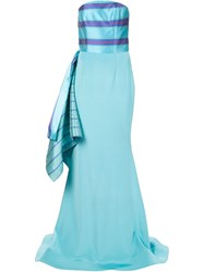 Christian Siriano Strapless Side Drape Trumpet Gown Blue