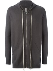 Rick Owens Long Length Hoodie Grey