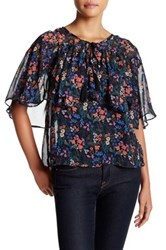 Flying Tomato Chiffon Ruffle Print Blouse Black