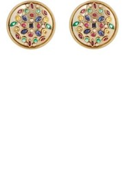 Mahnaz Collection Vintage Women's Embellished Disc Earrings Red Purple No Color Red Purple No Color