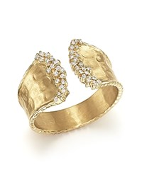 Bloomingdale's Diamond Cuff Ring In 14K Yellow Gold .17 Ct. T.W. White Gold
