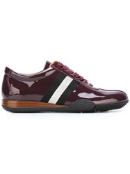 Bally Varnished Stripe Detailing Sneakers Red