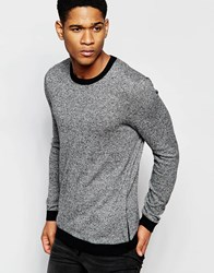 Asos Cotton Jumper With Side Zip Pockets Black And White Twist Grey